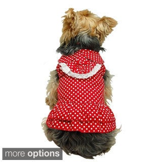 Insten Adorable Dog's Dress Polka Dot Print for Pet Cotton Clothing Party puppy