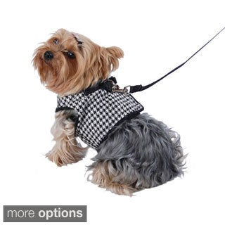 Pet Clothes Dog Harness Houndstooth jersey puppy clothes With Leash