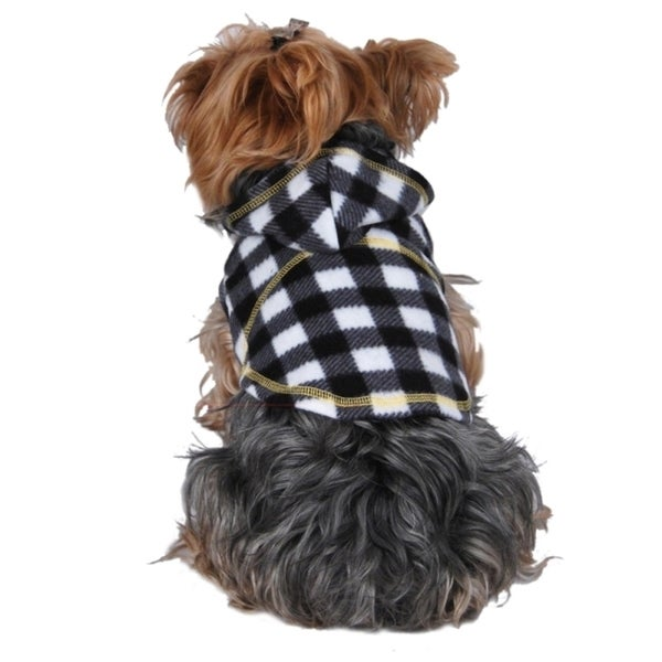 Insten Checkered fleece hoodie check plaid jacket coat for dog pet puppy