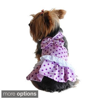 Insten Pink/ Purple Polka Dots Dog Dress with White Lace Ruffles and Ribbon Bow