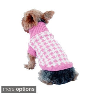Pet Dog Puppy Warm Apparel Oxford Knitted Houndstooth Sweater Pullover