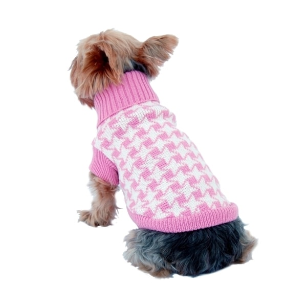 Insten Pet Dog Puppy Warm Apparel Oxford Knitted Houndstooth Sweater Pullover