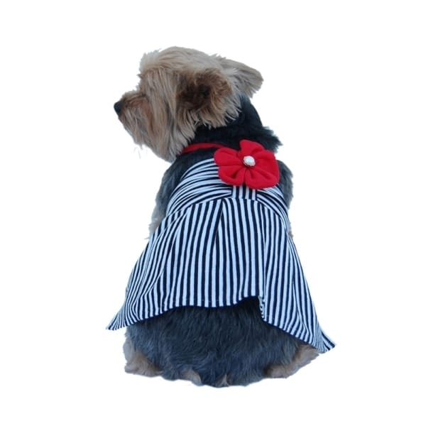 Insten Cute Pet Dog Mini Dress Apparel Skirt Stripe Clothes With Flower