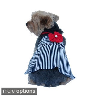 Cute Pet Dog Mini Dress Apparel Skirt Stripe Clothes With Flower