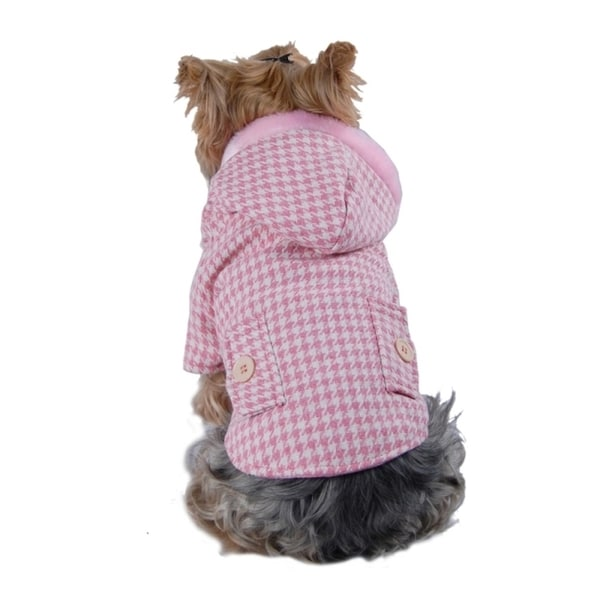 Insten Puppy Dog Pet Soft Clothes Houndstooth Jacket Hoodie Coat