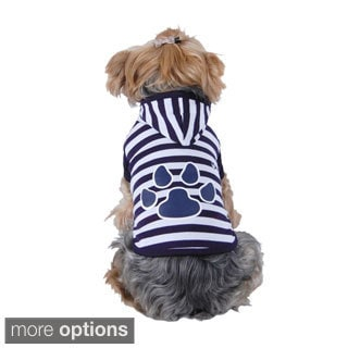 Puppy Dog Pet Soft Clothes Stripe Paw Print Hoodie Apparel