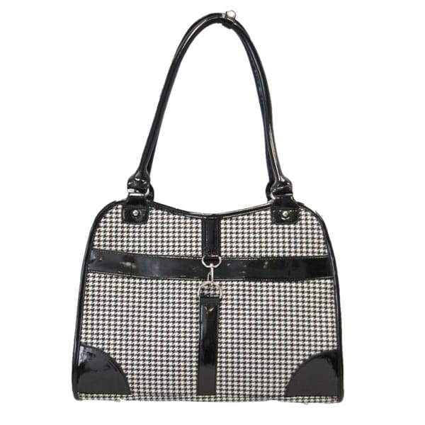 Insten Portable Pet Dog Cat puppy Houndstooth Print Fabric Carrier Travel Tote Bag