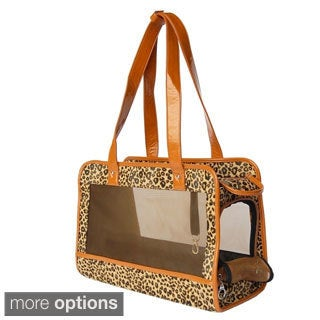 Insten Pet Dog Puppy Leopard Mesh Zippered Travel Outdoor Shoulder Tote Handbag Carrier