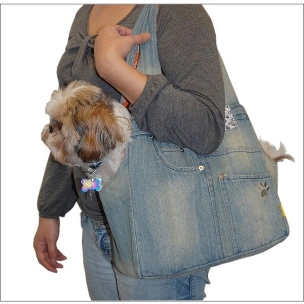 Insten Blue Denim Shoulder Bag Dog Carrier