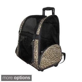 Insten Pet Carrier Dog Rolling Backpack Travel Airline Wheel Luggage Bag Stroller