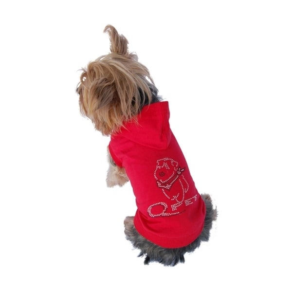 Insten Red Bling Poly-cotton Dog Hoodie Sweatshirt