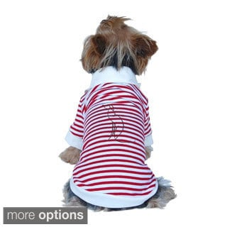 BasAcc Red/ White Stripes POLO T-shirt for Doggy Puppy Clothes Striped Shirts
