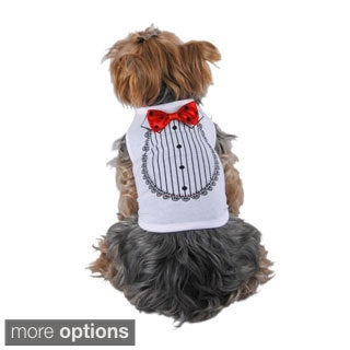 Insten Pet Dog Shirt print Tuxedo With Bow Tie Costume Wedding Puppy Clothes