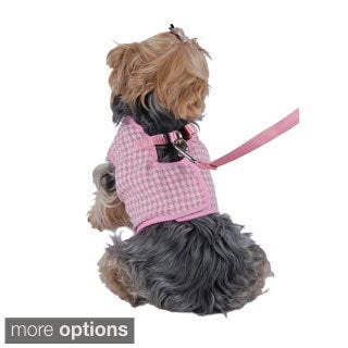 Insten Pet Clothes Dog Harness Houndstooth jersey puppy clothes With Leash