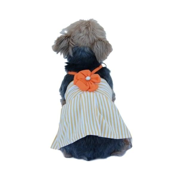 Insten Cute Pet Dog Mini Dress Apparel Skirt Stripe Clothes With Flower