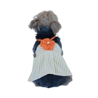 Cute Pet Dog Mini Dress Apparel Skirt Stripe Clothes With Flower