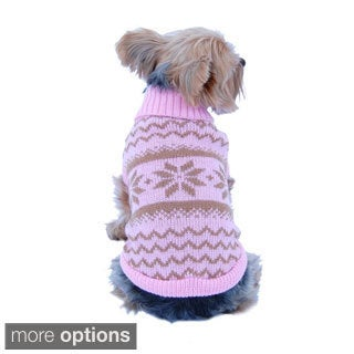 Puppy Dog Pet Classic Snowflake Turtle Neck Sweater Winter Warm Clothes