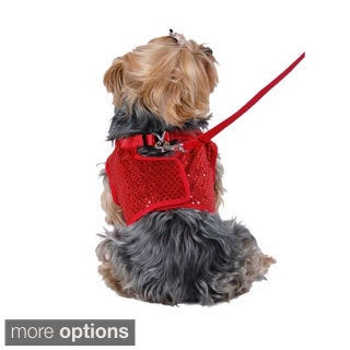 Pet Dog Puppy Apparel Clothes Sequin Jersey Harness Bling Tee with Leash