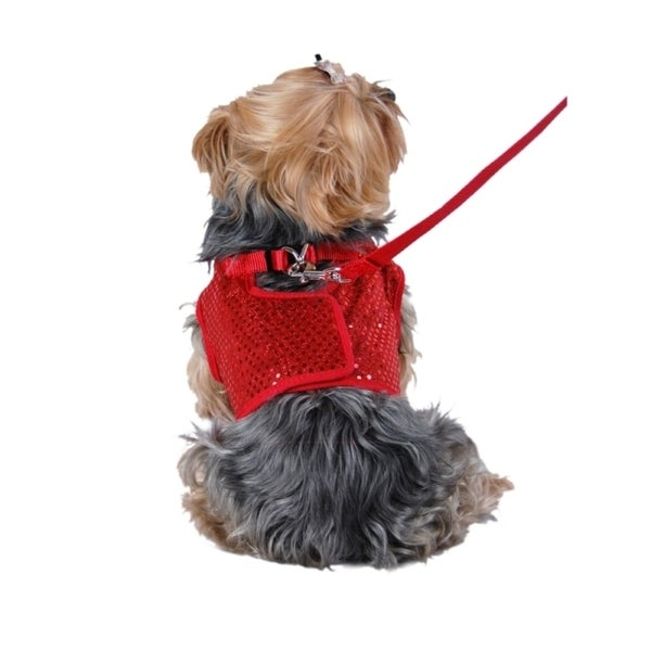 Insten Pet Dog Puppy Apparel Clothes Sequin Jersey Harness Bling Tee with Leash