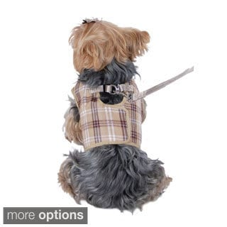 Pet Dog Puppy Apparel Clothes Plaid Checkered Jersey Dog Vest Harness with Leash