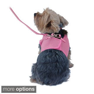 Color Comfort Soft Pet Dog Puppy Leash Lead With Mesh Harness Girth Vest