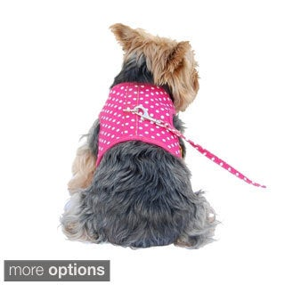 Pet Dog Puppy Poly Cotton Harness with Leash Chain Strap Rope Clothes Apparel