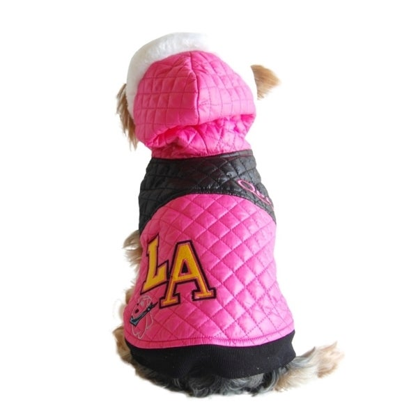 Insten Pet Dog Puppy L.A. Fashion Bubble Quilted Faux-Fur Trim Hat Hooded Jacket