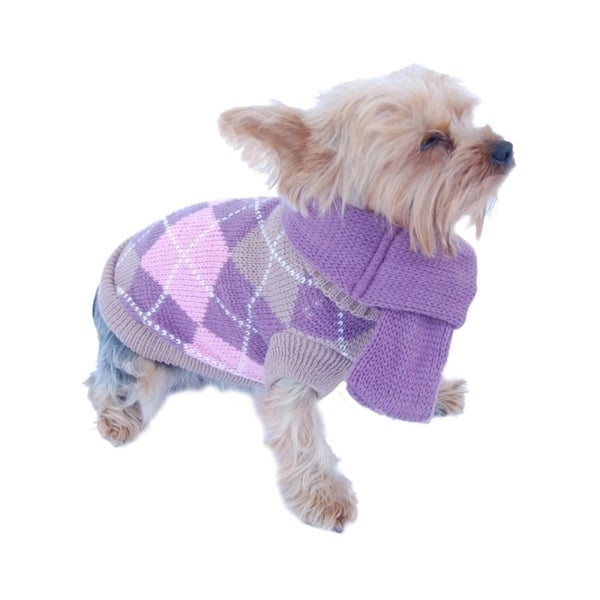 Insten Pet Dog Puppy Warm Argyle Neck Knit Sweater Coat Jumper with Removable Scarf