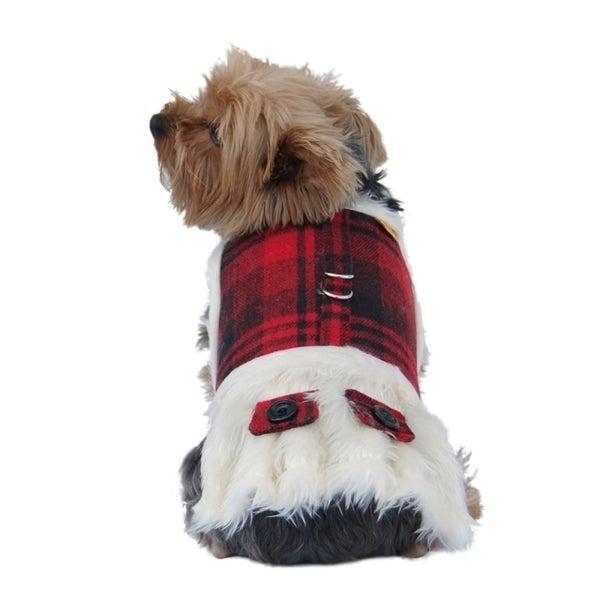 Insten Red/Black Plaid Dog Coat w/ Faux Fur Lining