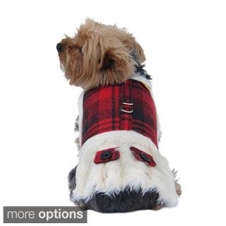 Insten Red/Black Plaid Dog Coat w/ Faux Fur Lining