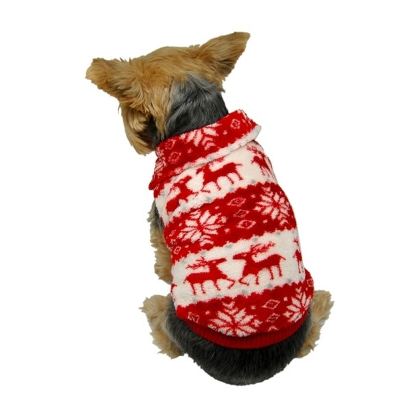 Insten Pet Puppy Dog Xmas Reindeer Snowflake Print Fleece Sweater Hoodie Winter