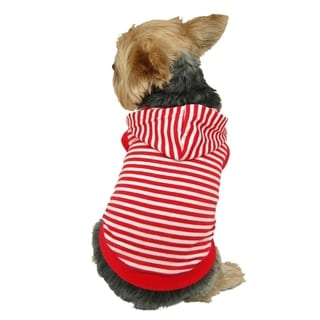 Insten Pet Puppy Dog Soft Poly Cotton Strip Hoodie Jacket Apparel Sweatshirt