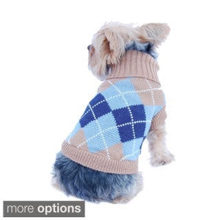Pet Dog Puppy Warm Argyle Turtle Neck Knit Sweater Jumper with Removable Scarf