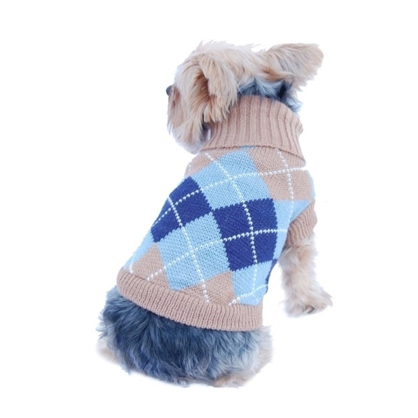 Insten Pet Dog Puppy Warm Argyle Turtle Neck Knit Sweater Jumper with Removable Scarf