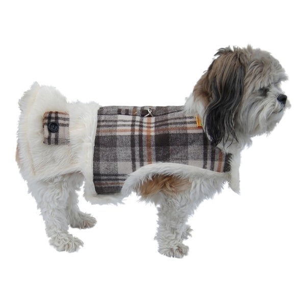 Insten Plaid Small Breed Winter Coat w/ Faux Fur Lining