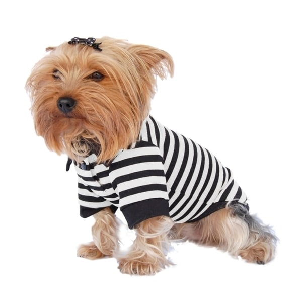 Insten Pet Puppy Dog Clothes Stripe Cotton Polo T Shirt Apparel