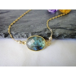 14k Gold Filled Likable Oval Labradorite and Sparkle Bead Pendant Necklace
