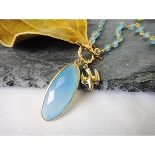 14k Gold Filled Elegant Blue Chalcedony and Apatite Dove Charm rosary Pendant Necklace