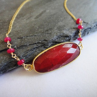 14k Gold Filled July Birthstone Oval Ruby Pendant Necklace