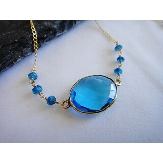 14k Gold Filled Blue Topaz Bezel Pendant Necklace