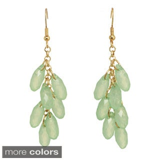 Silvertone Green, Blue or Pink Beaded Dangle Earrings