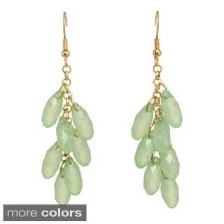 Silvertone Green, Blue or Pink Beaded Dangle Earrings