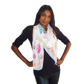 Rainbow Skulls White Fashion Scarf