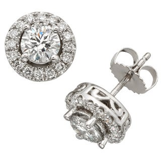 Sofia 18k White Gold 2ct TDW White Diamond Halo Stud Earrings (E-F, SI1-SI2)