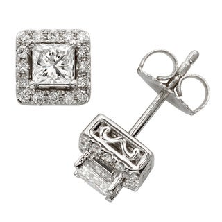 Sofia 18k White Gold 1ct TDW Princess-cut Diamond Halo Stud Earrings (E-F, SI1-SI2)