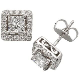 Sofia 18k White Gold 2ct TDW Princess-cut Diamond Halo Stud Earrings (E-F, SI1-SI2)