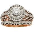 Sofia 14k Rose Gold 7/8ct TDW Vintage Diamond Bridal Set (H-I, I1)