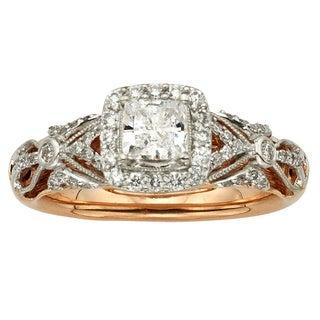 14k Rose Gold 1ct TDW Vintage Princess Cut Diamond Ring (H-I, I1-I2)