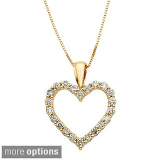 Sofia 14k Gold 1/2ct TDW IGL-certified Diamond Heart Pendant (H-I, I1-I2)