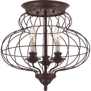 Laila 3-light Rustic Antique Bronze Medium Flush Mount